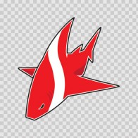 Cartoon Scuba Flag Shark 01785