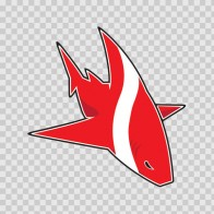 Cartoon Scuba Flag Shark 01786