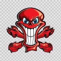 Cartoon Red Skull with Blue Eyes 02415