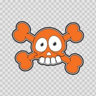 Cartoon Orange Skull 02419