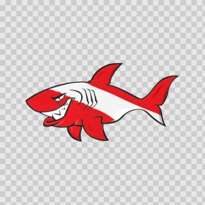 Cartoon Scuba Flag Shark 01775